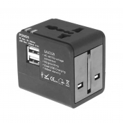 All-in-one Travel Adapter Power Adapter Plug Adapter with 2 USB Ports for UK/EU/US/AU (FC148)