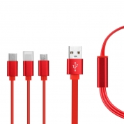3 in 1 Flat TPE USB Cable for iPhone Cable Fast Charging Cable For iPhone, Huawei, LG, Samsung