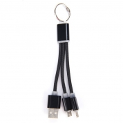 2 In 1 USB Charger Cable Key Chain Phone Connector Braided Charging Data Line